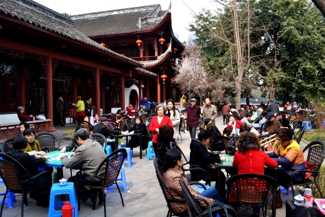 A standard Chengdu Tea House on a dry weekend:  lots of games, smoking and tea.